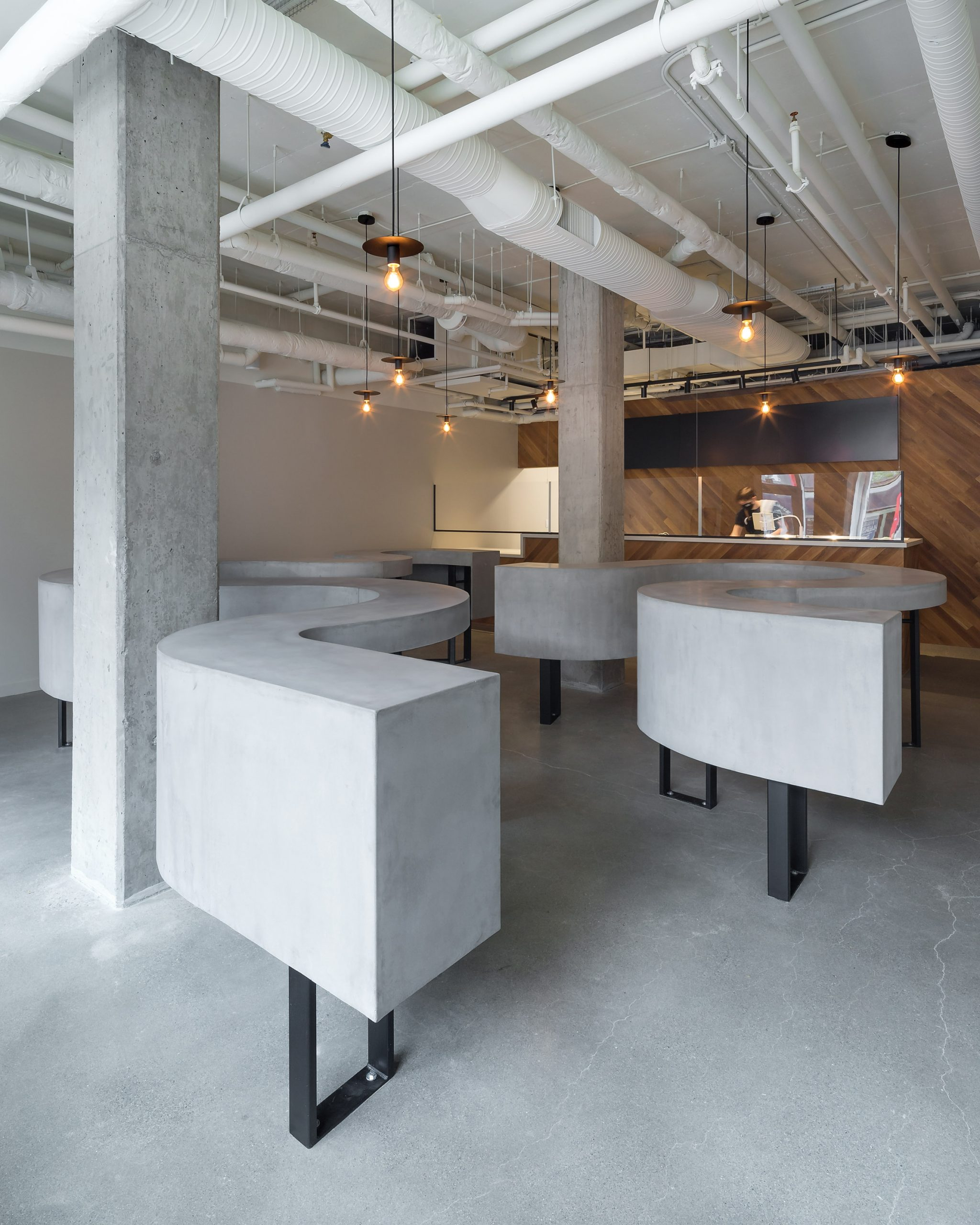 Grey concrete floors, tables and columns