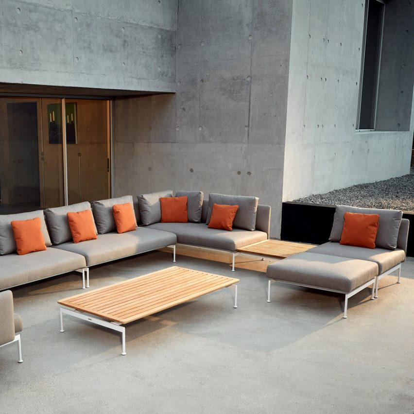 Sofa and coffee table from Layout outdoor collection by Andrew Jones and Nathalie de Level for Barlow Tyrie