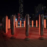 Inflatable pillars pulse with light to encourage deep breathing in Brooklyn