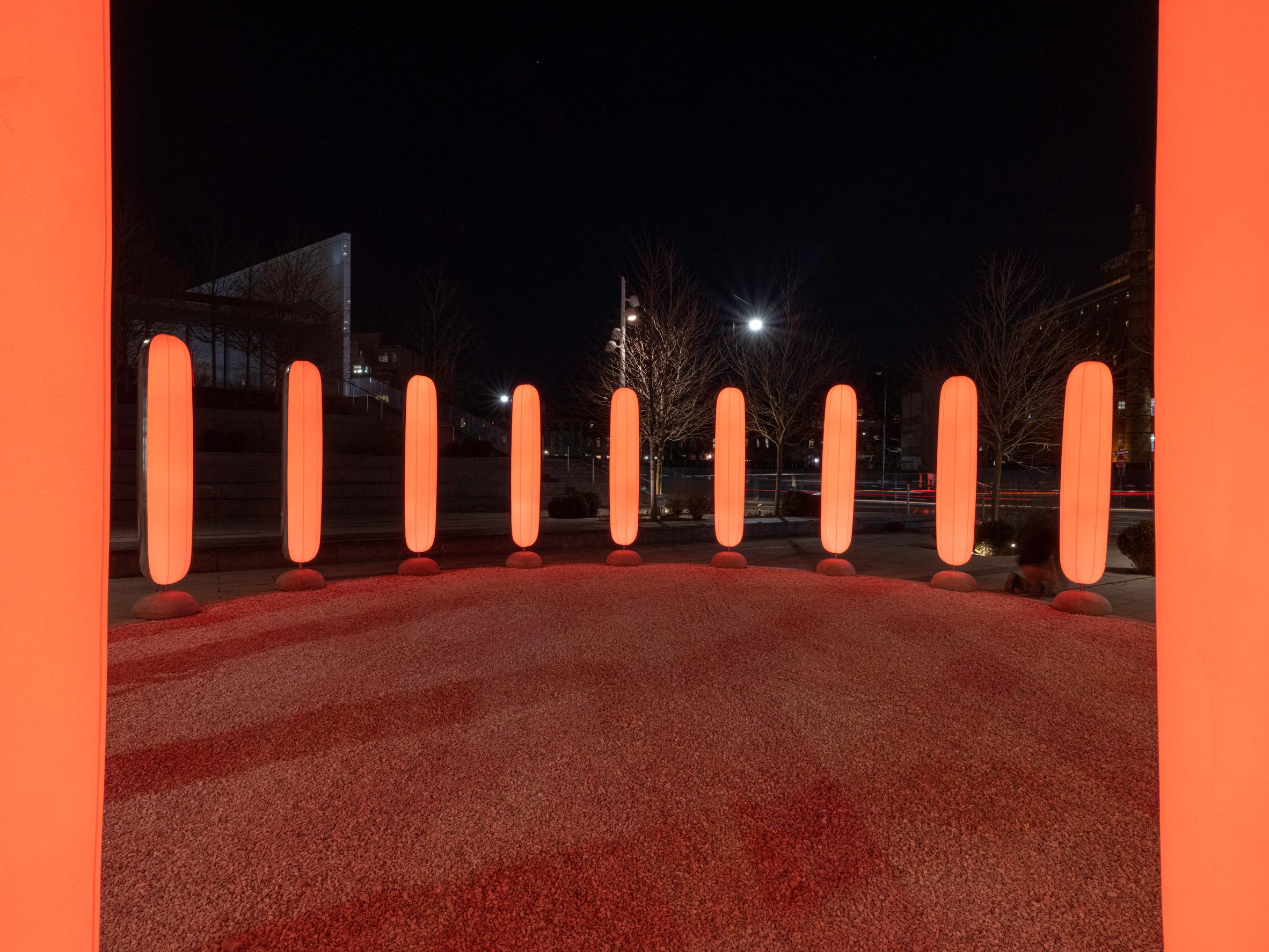 Ekene Ijeoma made the pillars glow orange to reflect the colour of the sun