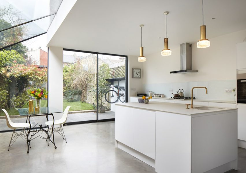 Skylight covered London house extension