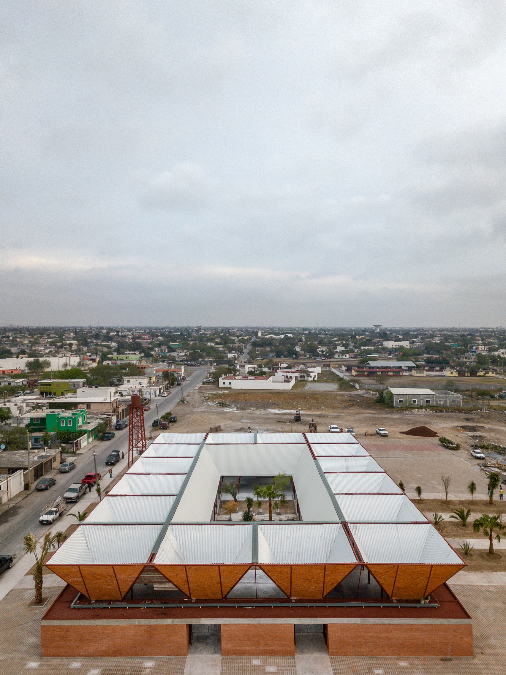 Drone footage of a market in Mexico