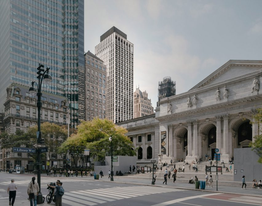 The Bryant visible behind the New York Public Library.