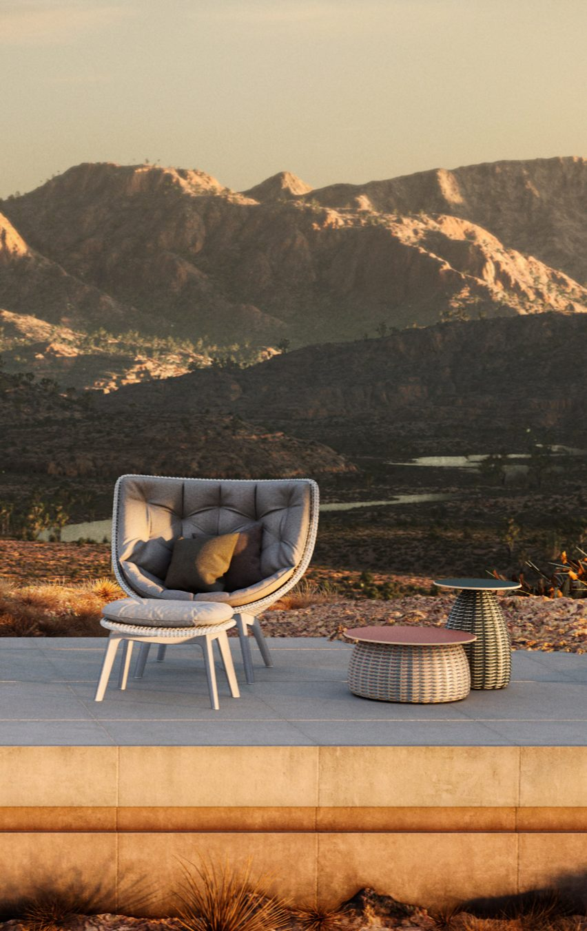 Outdoor chairs and side tables by Sebastian Herkner for Dedon