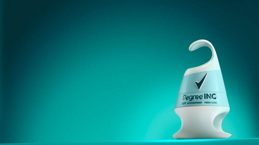 Degree Inclusive Deodorant on a Blue Background