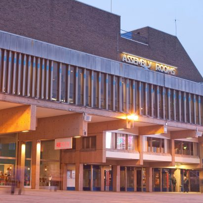 The brutalist Derby Assembly Rooms in Derbyshire