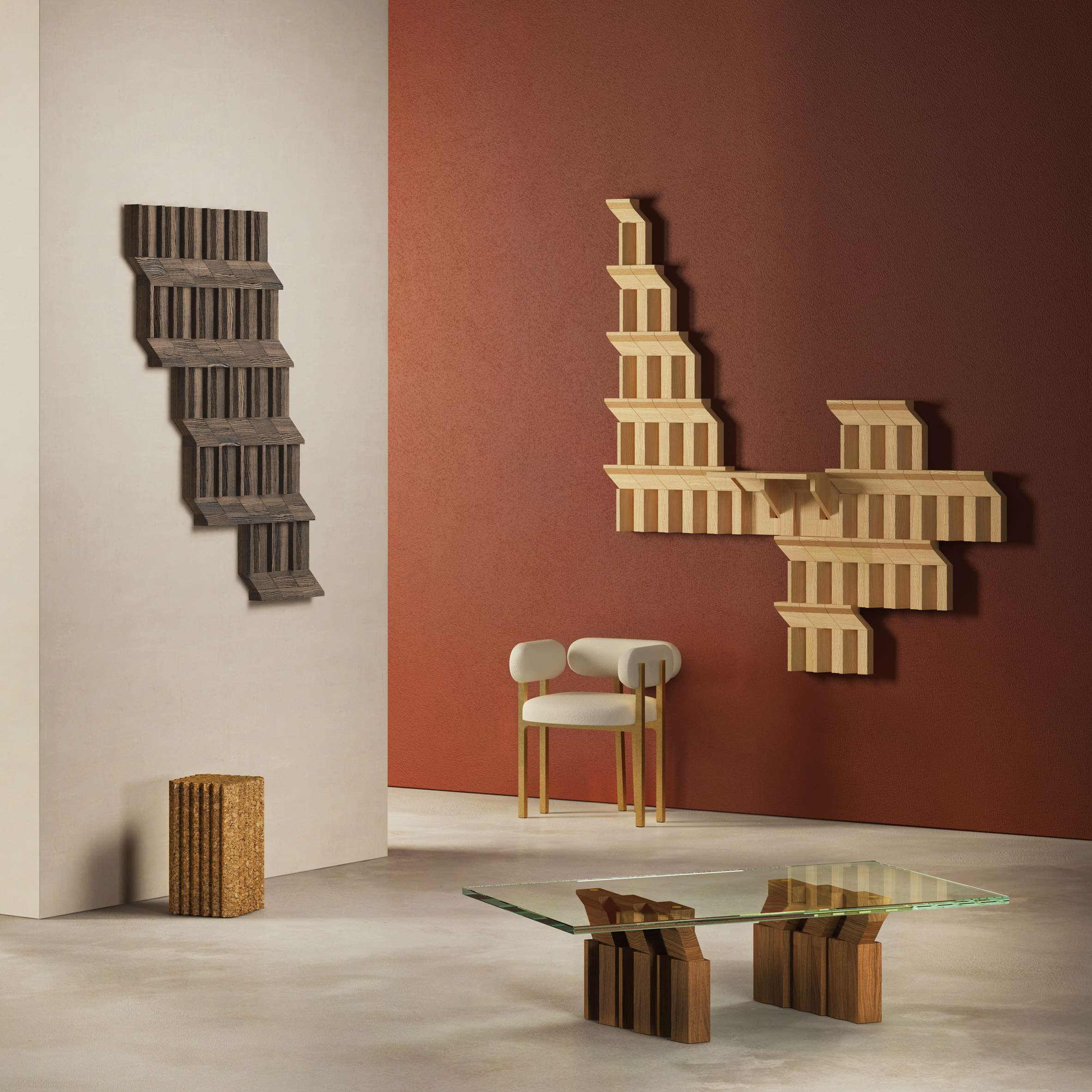 Furniture by Charles Kalpakian at the Collectible design fair as featured in Dezeen Events Guide May