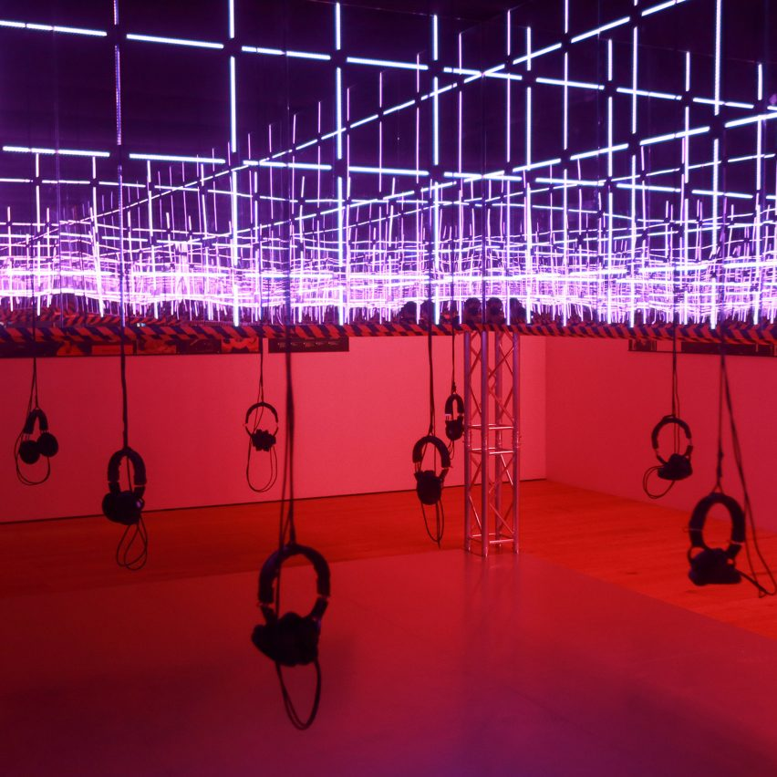 Silent disco at the Night Fever exhibition at V&A Dundee as featured in Dezeen Events Guide May