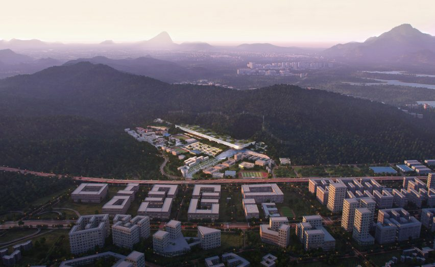 Aerial view of the university campus by Dominique Perrault Architects and Zhubo Design