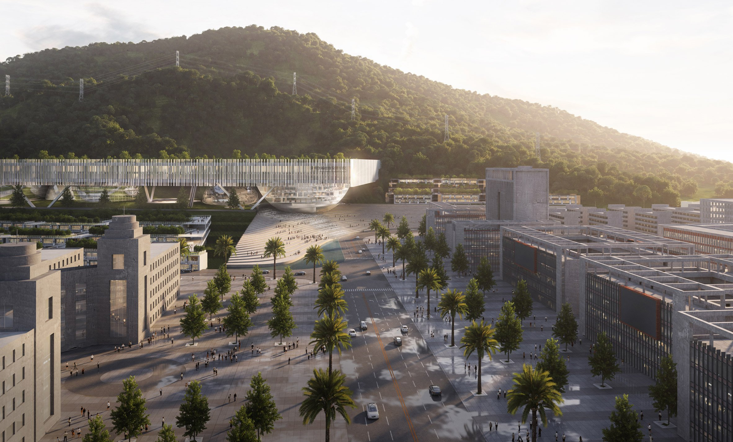 The campus by Dominique Perrault Architects and Zhubo Design has a large public amphitheatre