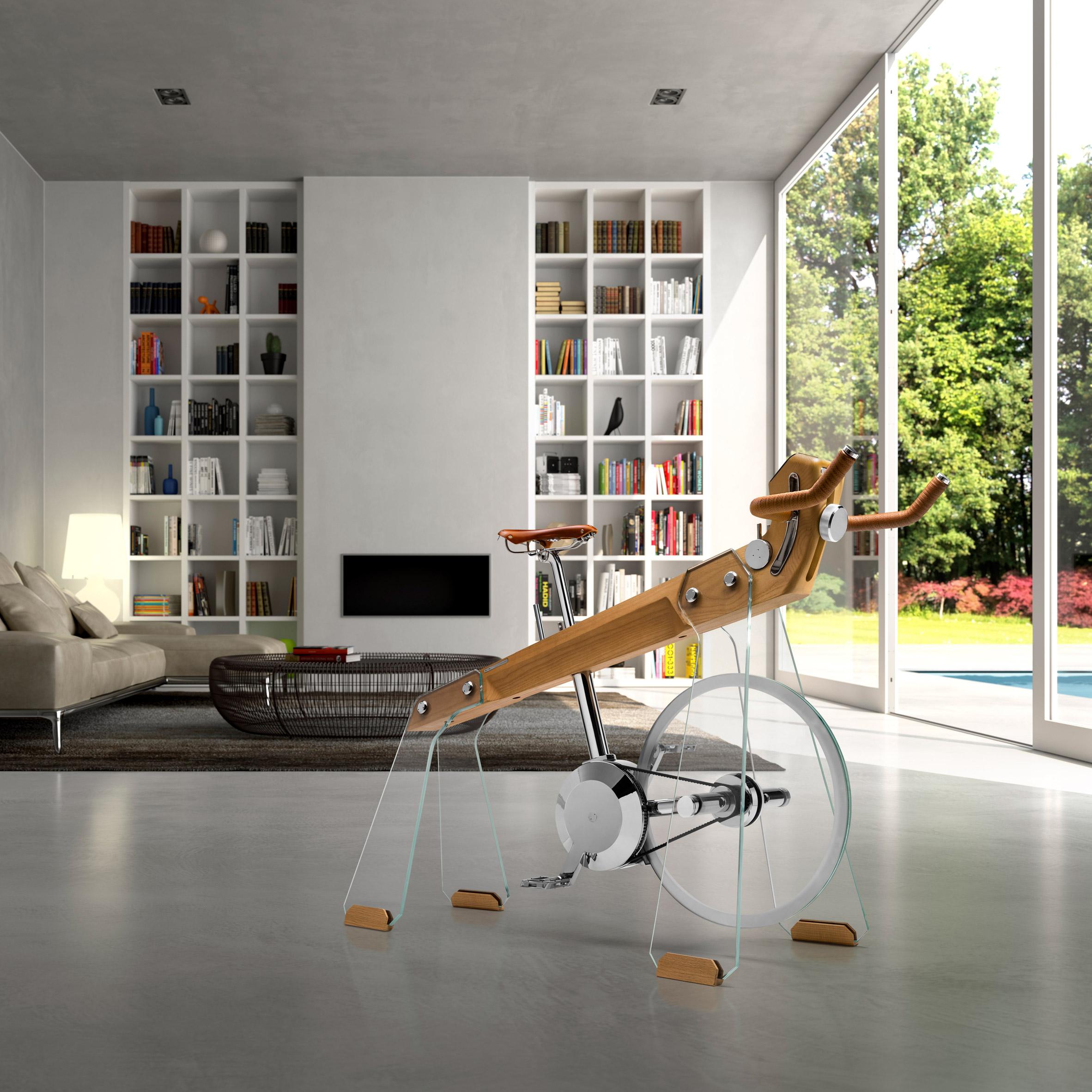 Fuoripista bike in a living room interior
