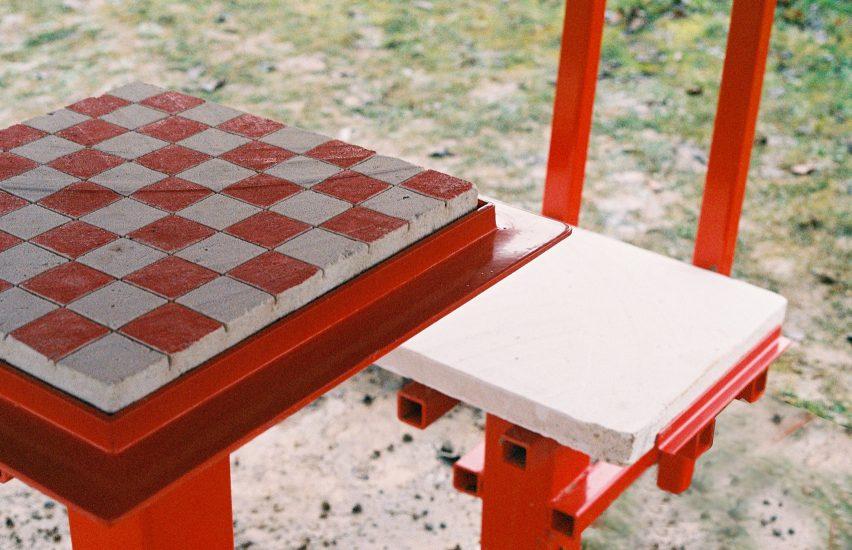A stone chess board