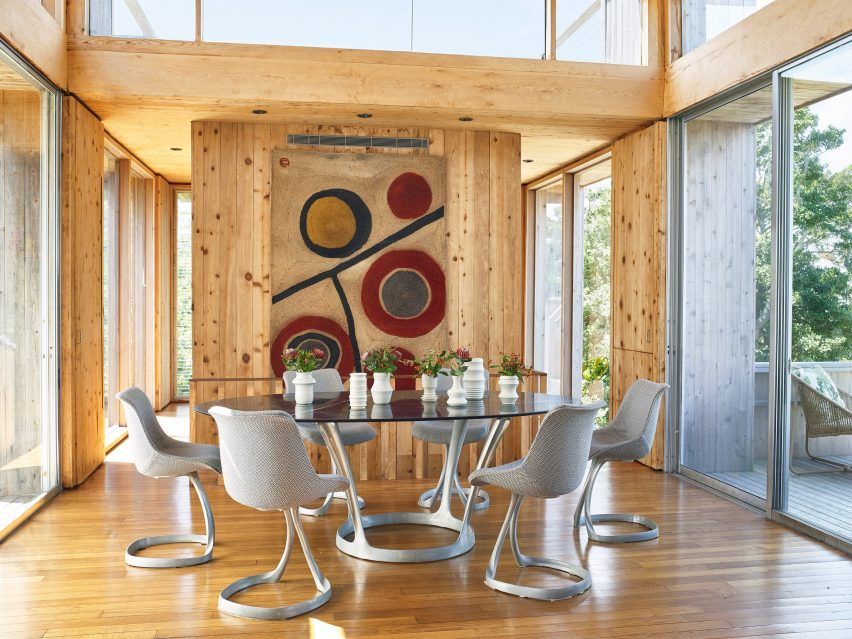 Restored interiors of 1960s house on Fire Island