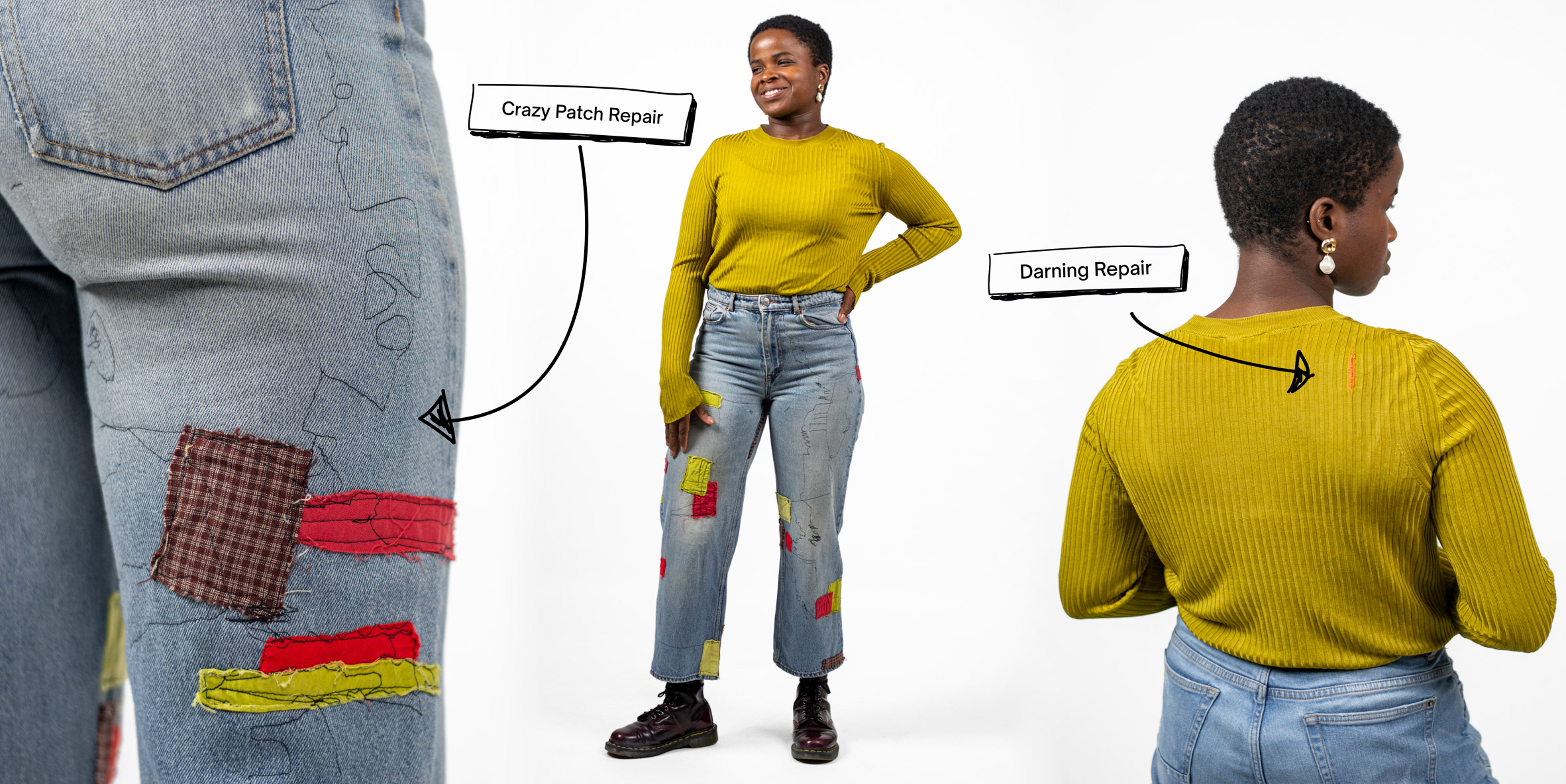 Patch repaired trousers and darning repaired top from Fixing Fashion collection