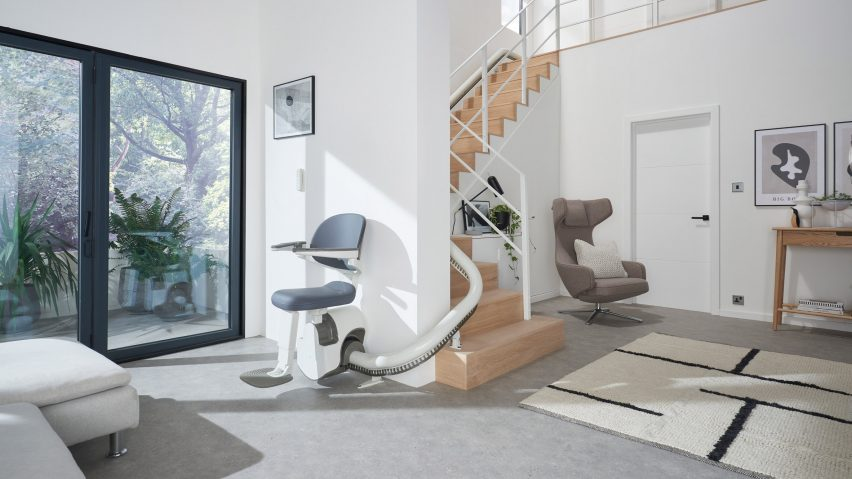 Foldable Flow X stairlift by Pearson Lloyd for Access BDD in an interior