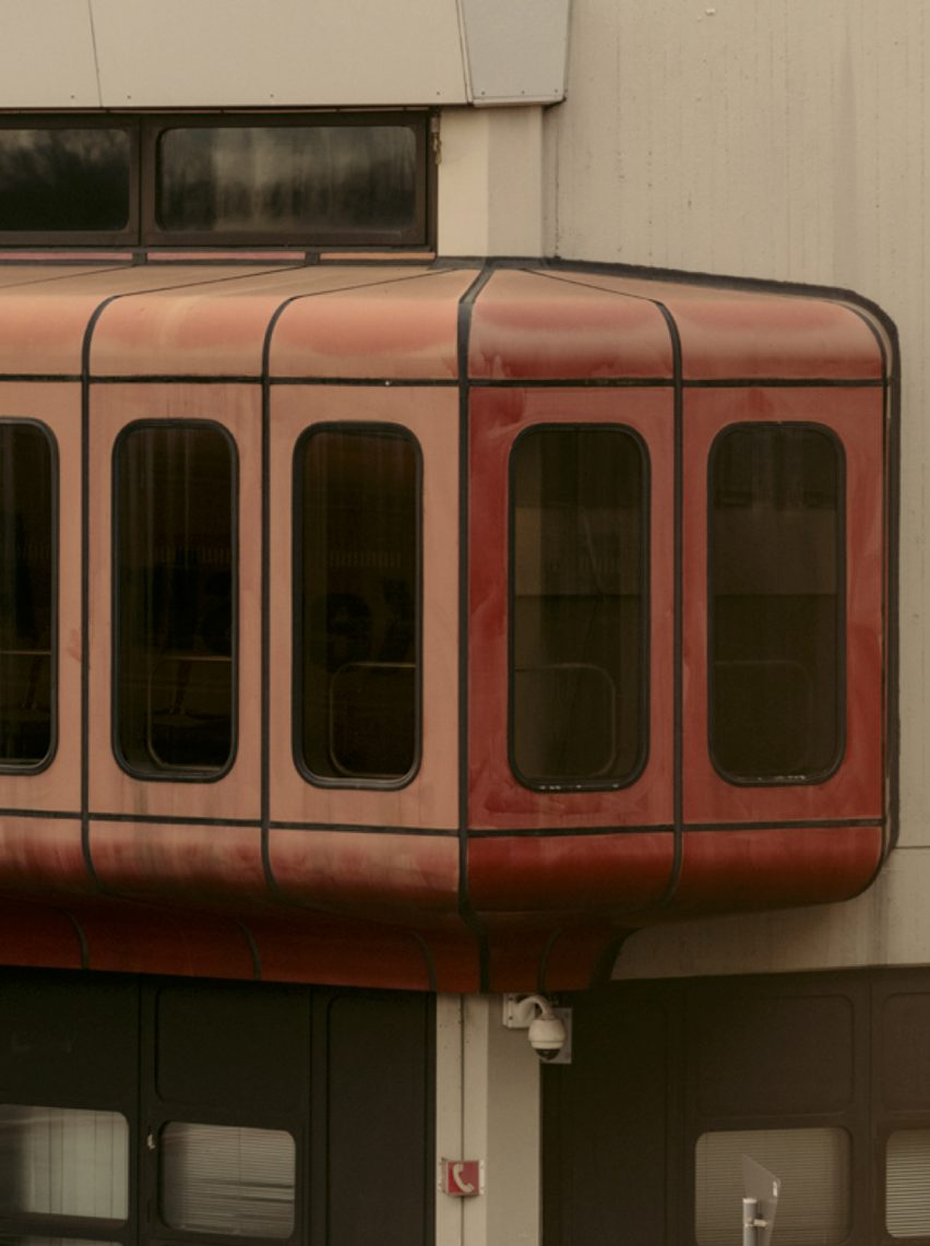 Red capsule attached to Tegel airport