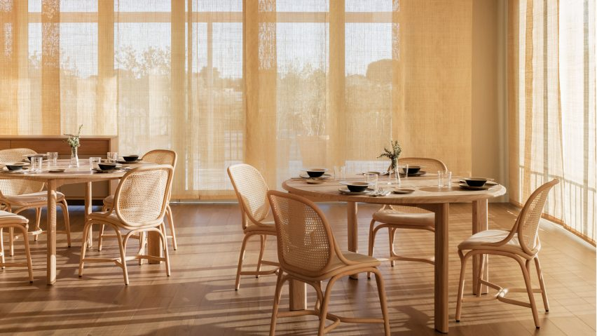 Frames dining chairs by Jaime Hayon for Expormim arranged around two tables