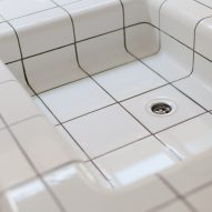White tile sink