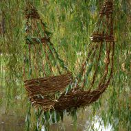 Gerardo Osio weaves chair into weeping willow tree on the Dommel river