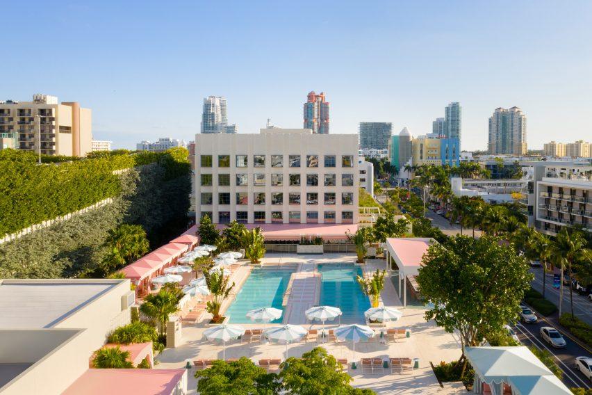 Strawberry Moon beach club of Miami Beach hotel by Ken Fulk for Pharrell Williams and David Grutman
