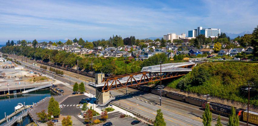 A concrete and steel bridge in Everett, Washington