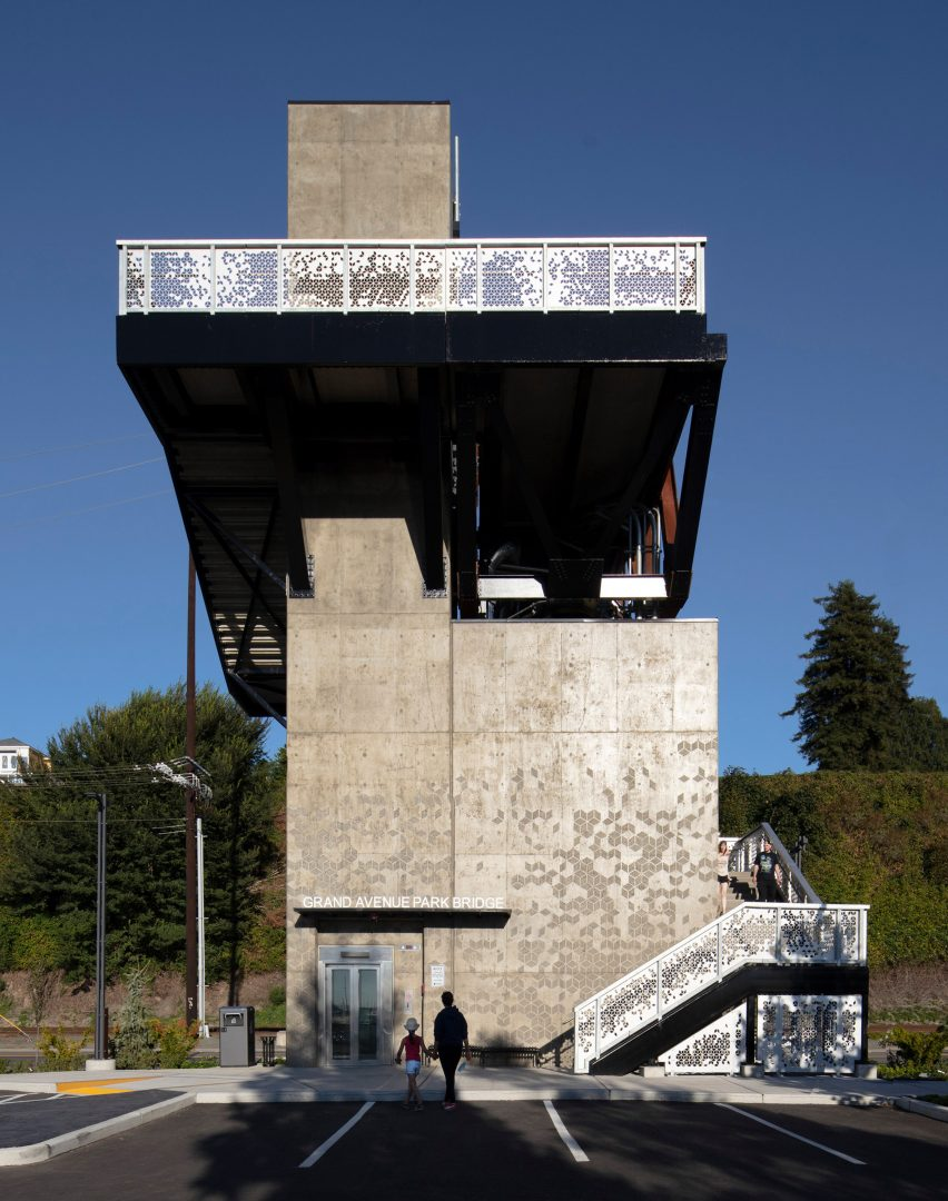 Concrete tower of New Grand Avenue Park Bridge by LMN Architects