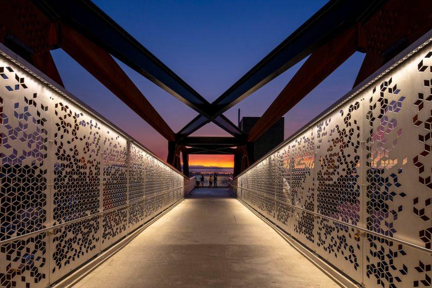New Grand Avenue Park Bridge at sunset