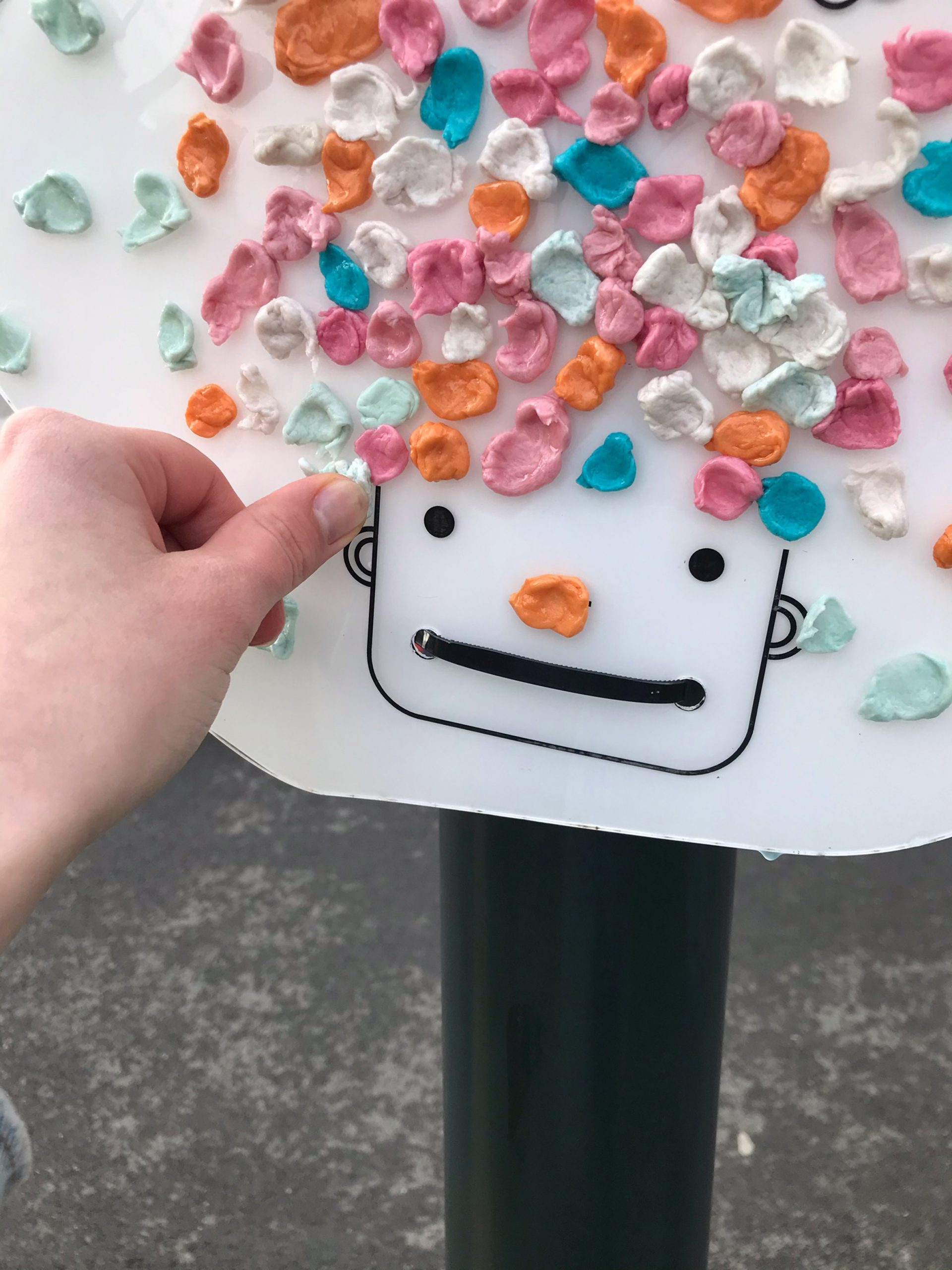 Close-up of chewing gum collection board by Hugo Maupetit and Vivian Fischer