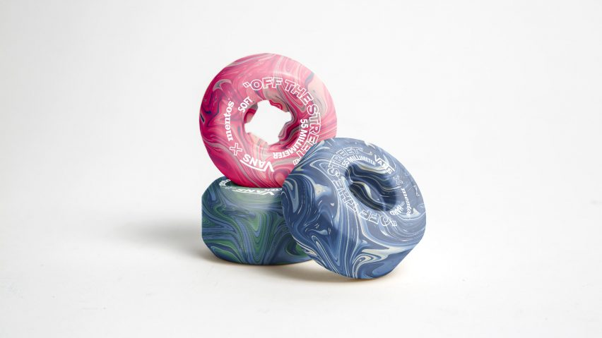 Pink, green and blue skateboard wheels made from chewing gum by Hugo Maupetit and Vivian Fischer
