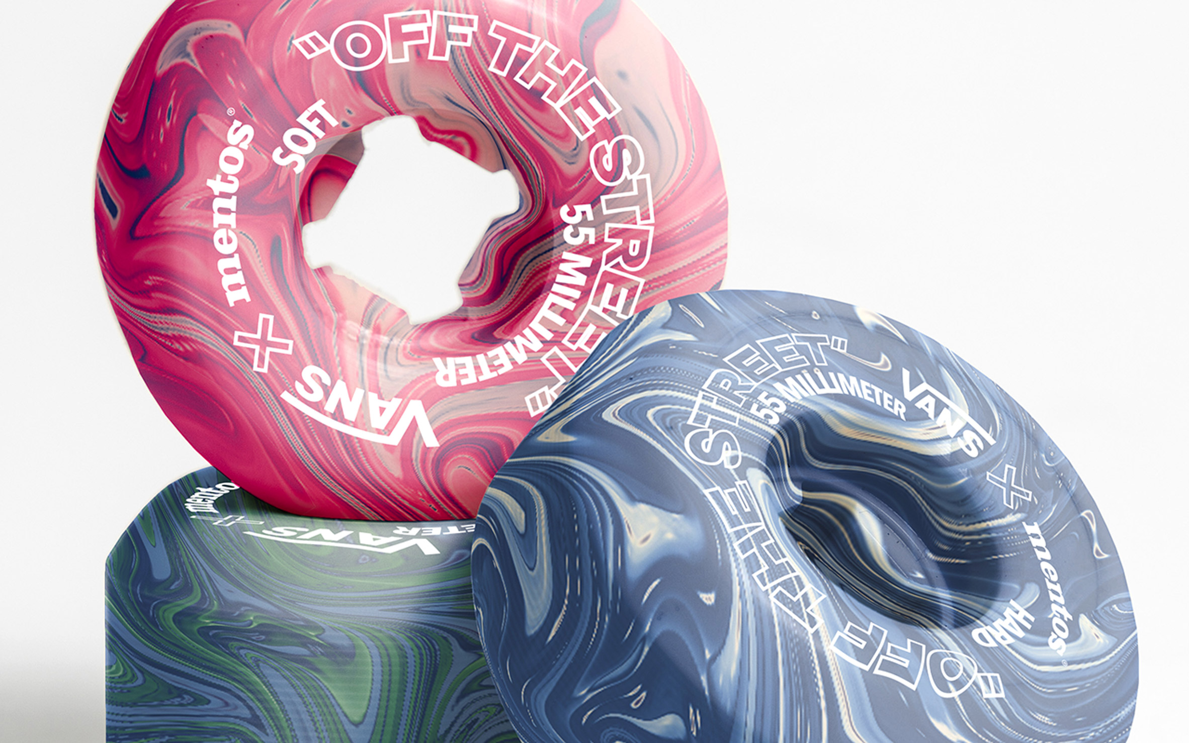 Close-up of chewing gum skateboard wheels by Hugo Maupetit and Vivian Fischer