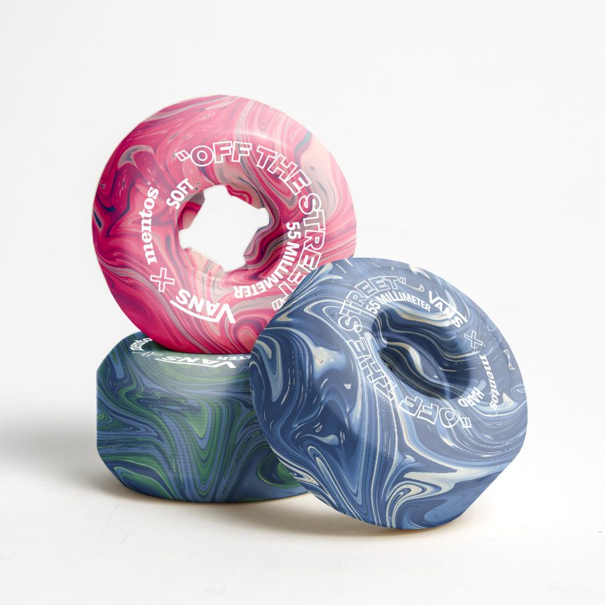Colourful skateboard wheels made from chewing gum by Hugo Maupetit and Vivian Fischer