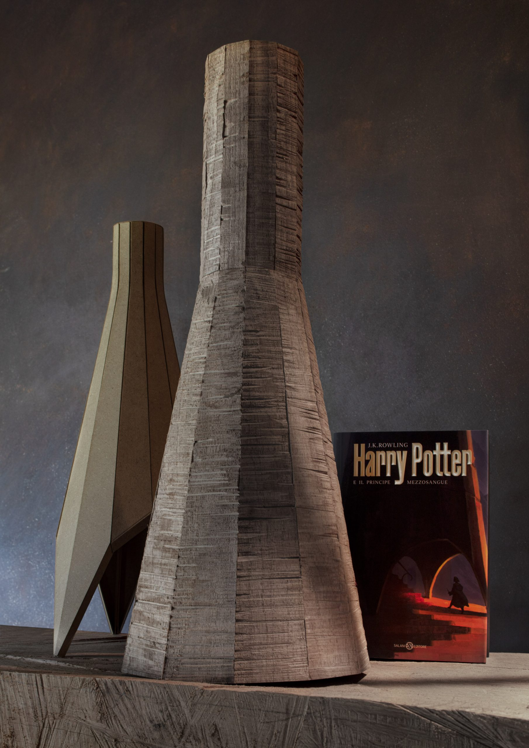 Italian version of Harry Potter and the Half-Blood prince with a wooden model by Michele De Lucchi
