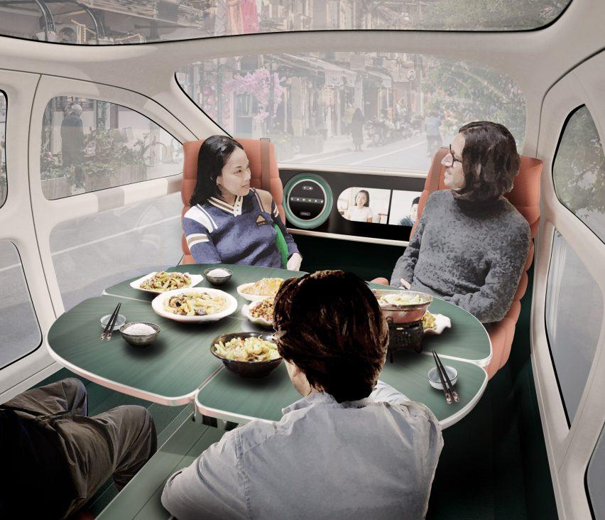 Table inside Heatherwick Studio's electric car