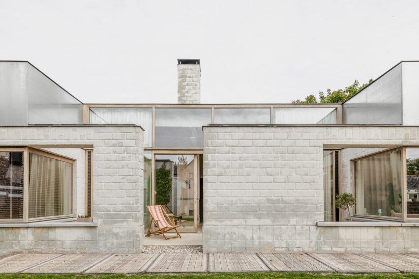 The brick facade of a bungalow in Belgium