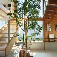 Wooden staircase and atrium