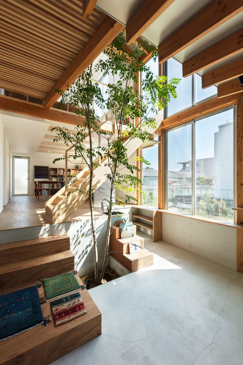 An atrium with a tree