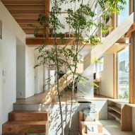 A wooden staircase in a Japanese house