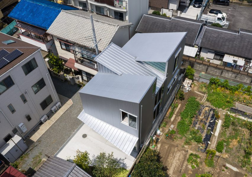 Aerial view of a metal-clad house in Japan