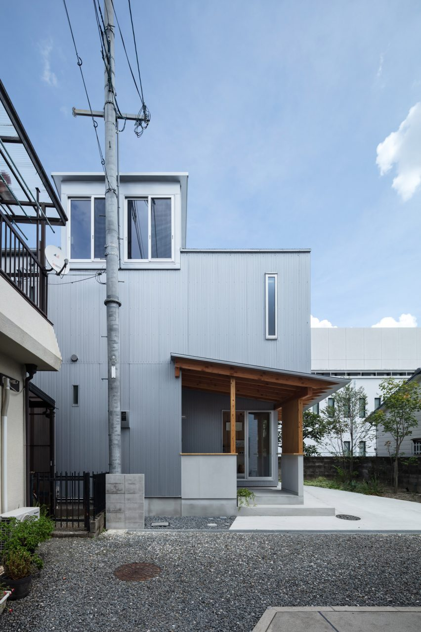 A Japanese house clad in corrugated metal