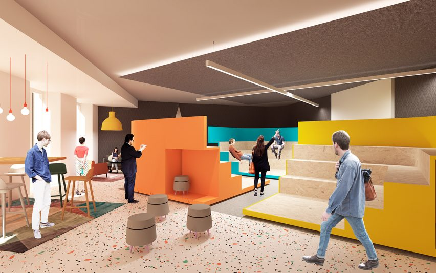 Flexible community space for Microsoft's offices designed by Borja Esparza Pamplona