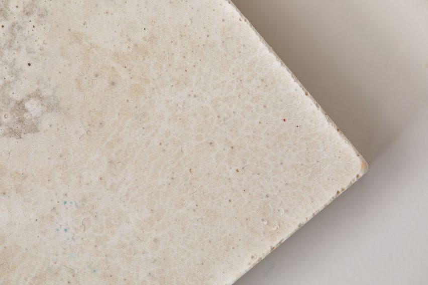 White bio-concrete tiles made from Japanese knotweed and American signal crayfish