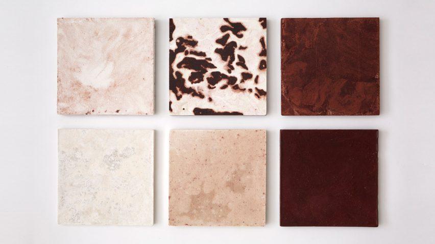 Bio-concrete tiles by Irene Roca Moracia and Brigitte Kock made from invasive species