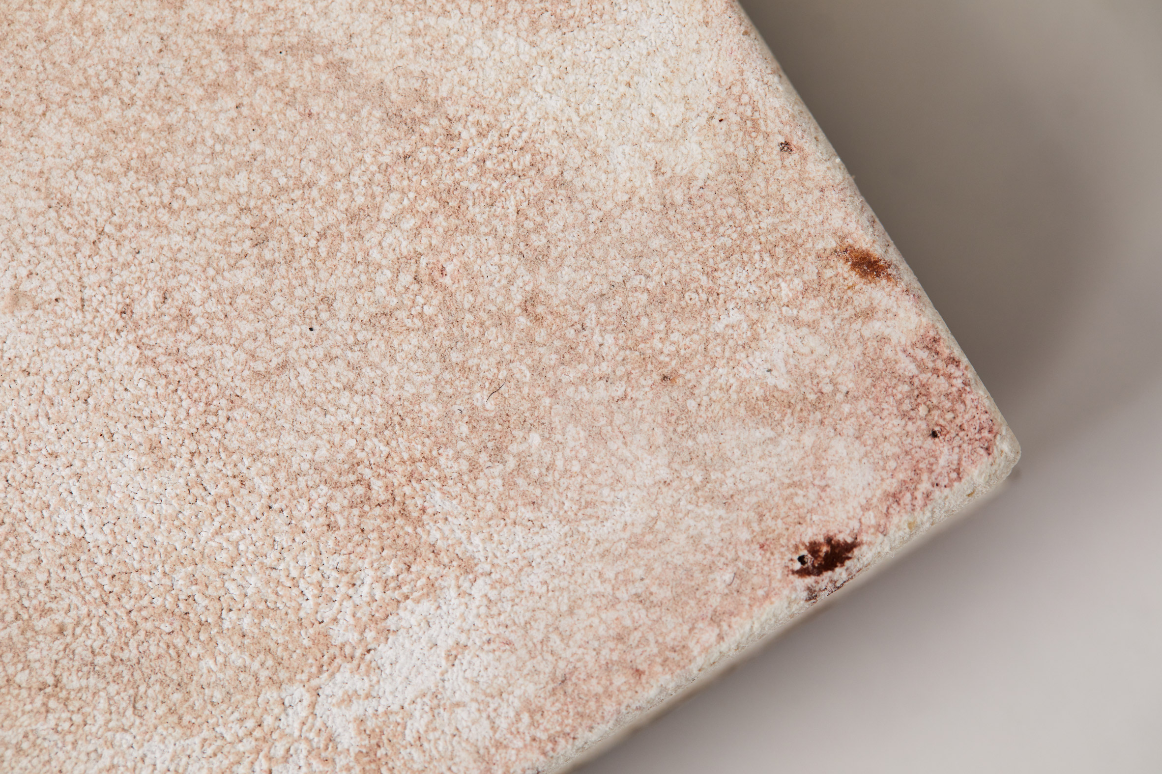 Close-up of texture on bio-concrete tiles made from invasive species