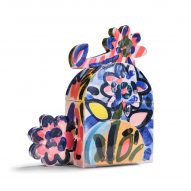 A colourful cremation urn