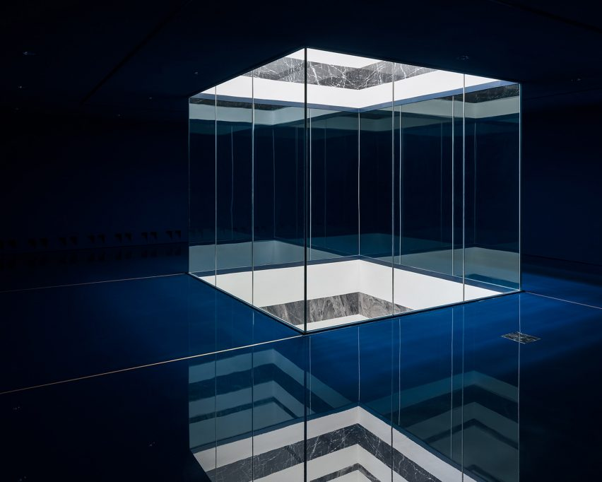 Light well with marble inlays in modern extension of Royal Museum of Fine Arts Antwerp
