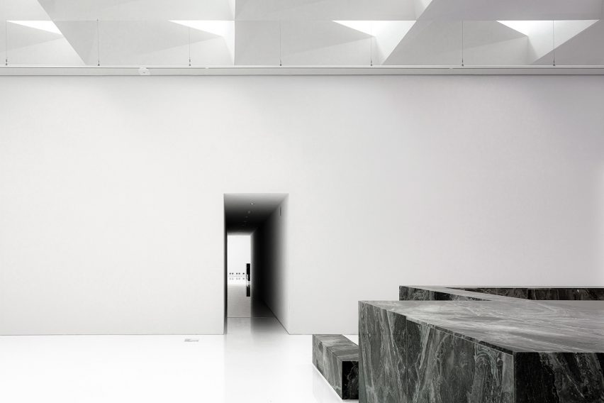 Marble detailing in modern extension of Royal Museum of Fine Arts Antwerp