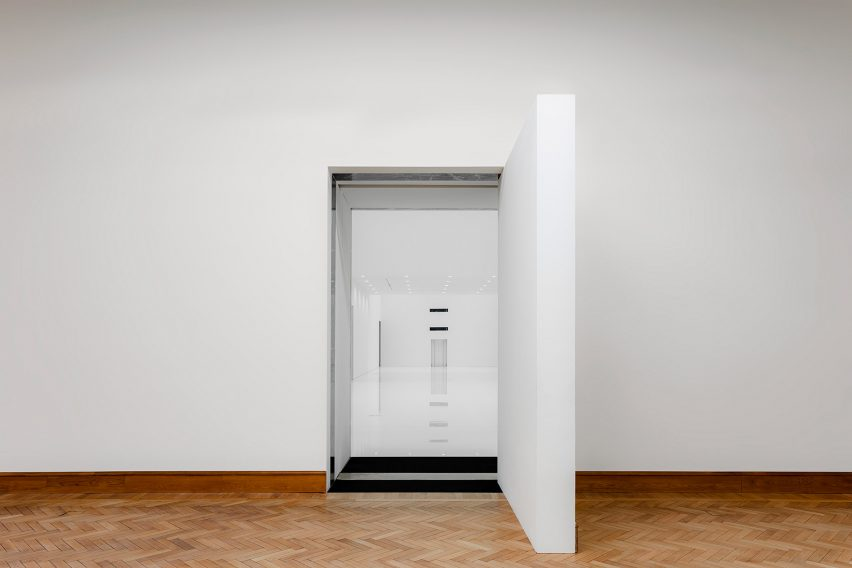Entrance to minimalist extension of Royal Museum of Fine Arts Antwerp