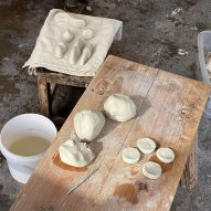 Clay before it is fired in the kiln