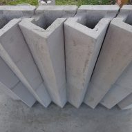 Concrete bricks used to form the development