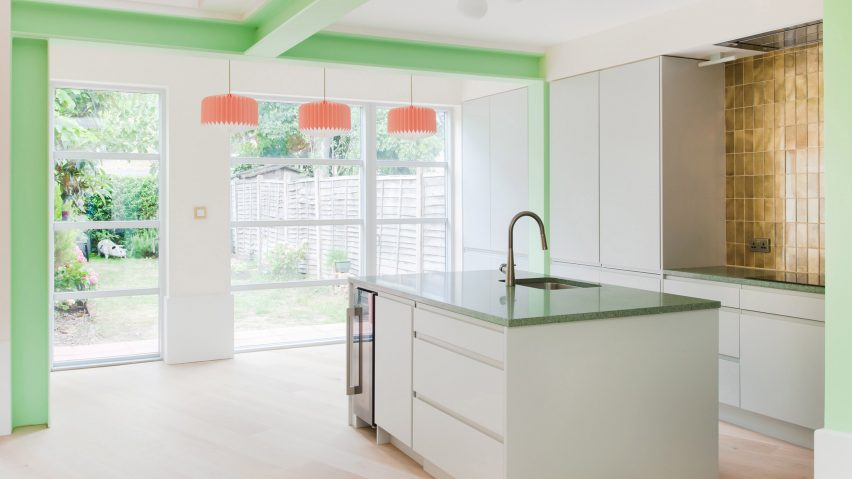 London kitchen extension with green details